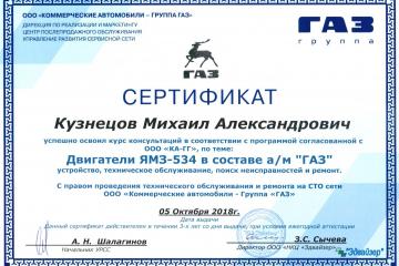 Сертификат Кузнецов МА